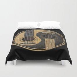 Aged Vintage Acoustic Guitars Yin Yang Duvet Cover