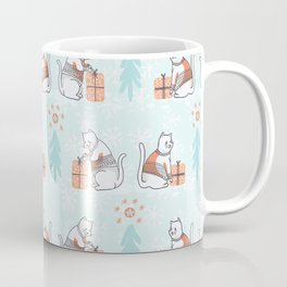 Christmas Cat in Embroidery Sweater Seamless Vector Pattern Coffee Mug