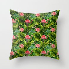 Aloha- Tropical Flamingo Bird and Palm Leaves Garden Throw Pillow