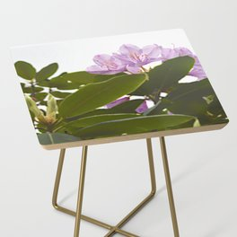 Pink Azalea Flowers with Spring Green Leaves Side Table