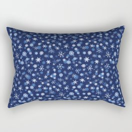 True Blue Snowflake Pattern Rectangular Pillow