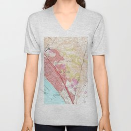 Vintage Map of San Clemente California (1968) Unisex V-Neck