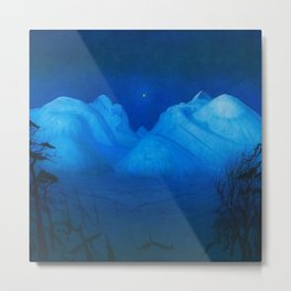North Star Rising - Winter Night in the Alpine Mountains by Harald Sohlberg Metal Print