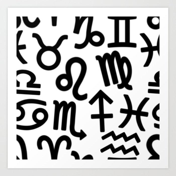 Zodiac Signs Seamless Pattern Horoscope Symbols Astrology