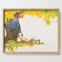calvin and hobbes Serving Tray