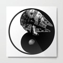 Millennium Falcon / Death Star Yin Yang Symbol Metal Print