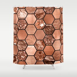 Rose gold hexaglam Shower Curtain