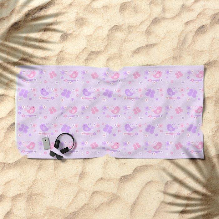 Chickadee Bird Butterfly Floral Purple Lavender Pink Beach Towel