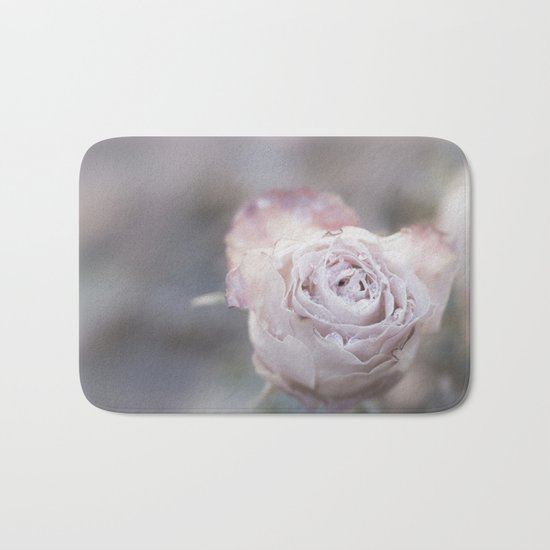 Frozen Pink Rose in Winter - Roses and Flowers Bath Mat