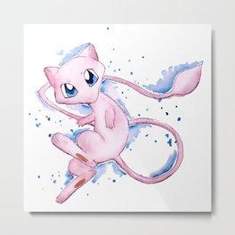 Pokémon Watercolor - Mew #151 Metal Print