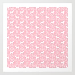 Chihuahua silhouette pink and white florals flower pattern art pattern dog breed Art Print