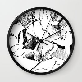 Ink Flower Night V Wall Clock