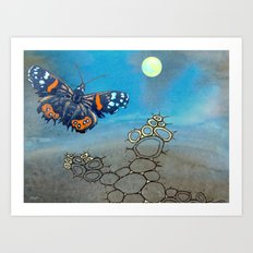 Last Flight of the Red Admiral Butterfly Art Print