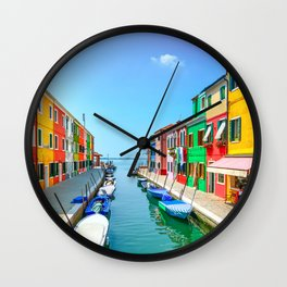 Venice, Burano island canal, colorful houses and boats, Italy Wall Clock
