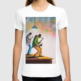 African American Masterpiece 'Bass, Sax, and Jazz' by Benny Andrews T-shirt