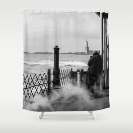 Liberty from the back of The Boat Shower Curtain