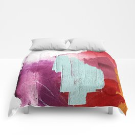 Desert Daydreams [3]: a colorful abstract mixed media piece in purple blue pinks and orange Comforters