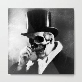 top hat skull portrait Metal Print