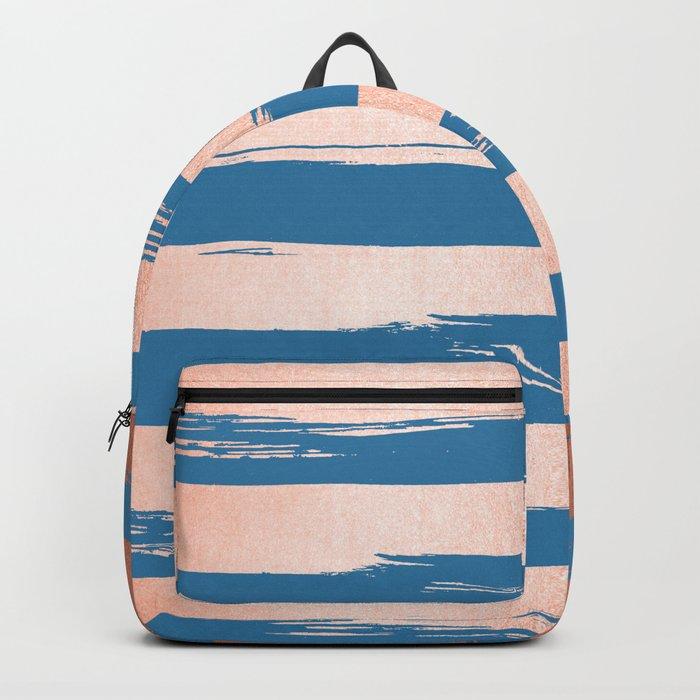 Trendy Stripes Sweet Peach Coral Pink + Saltwater Taffy Teal Backpack