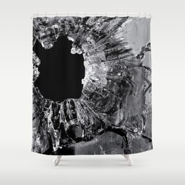 High Contrast Bullet Hole - Kill Your Television Abstract Shower Curtain