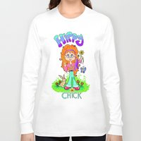 hippy Long Sleeve T-shirts featuring Hippy Chick by Melissa Morrison