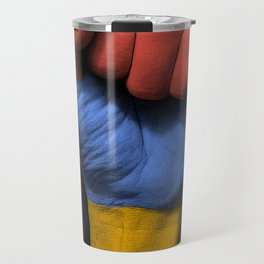 Armenian Flag on a Raised Clenched Fist Travel Mug