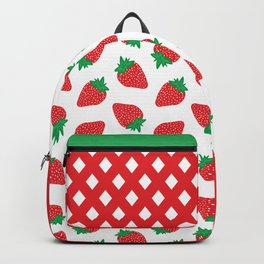 Cream Strawberries Pattern Backpack