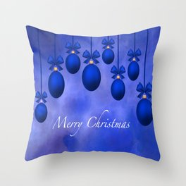 Merry Christmas Ornaments Bows and Ribbons – Blue Throw Pillow