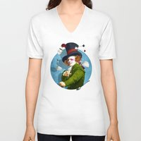mad V-neck T-shirts featuring Mad Hatter by Diogo Verissimo