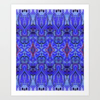 agnes Art Prints featuring Agnes Cobalt by Amy Sia