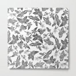 Tropical black white watercolor pineapple floral Metal Print