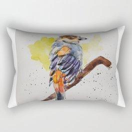 Silver-breasted Broadbill - in watercolor Rectangular Pillow