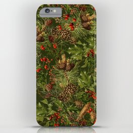 Traditional Holly Christmas Pattern iPhone Case