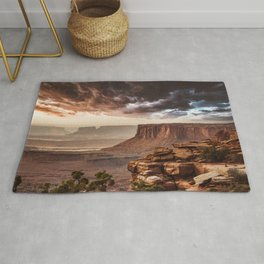 dramatic sky in moab Rug