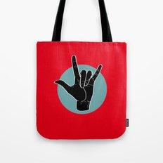 ILY - I Love You - Sign Language - Black on Green Blue 01 Tote Bag