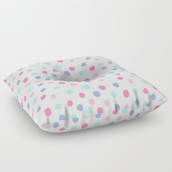 Pastel painted dots pattern minimal mint and pink nursery home decor patterns Floor Pillow by ...