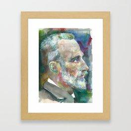 PIERRE CURIE - watercolor portrait Framed Art Print