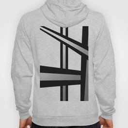 Bold Metallic Beams - Minimalistic, abstract black and white artwork Hoody