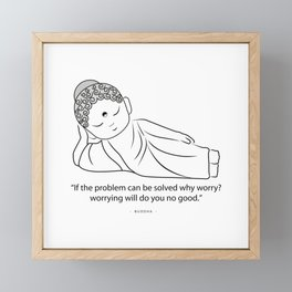 Lying Buddha with quote to inspire Framed Mini Art Print