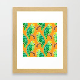 Sleepy Parrot Watercolor Pattern on Orange Framed Art Print