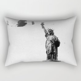 1909 Wilbur Wright, of Wright brothers fame, flies a Wright Type A plane by the Statue of Liberty black and white photograph Rectangular Pillow