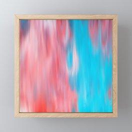 Abstract modern artsy coral teal aqua brushstrokes Framed Mini Art Print