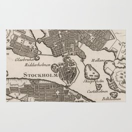 Vintage Map of Stockholm Sweden (1764) Rug