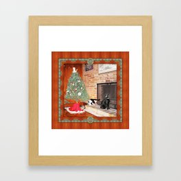 Curious Christmas Cats Framed Art Print