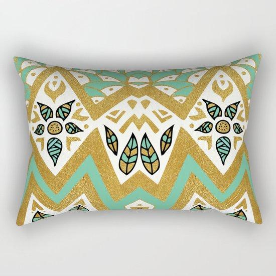 Golden Nature Mandala Rectangular Pillow