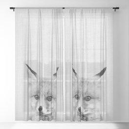 Baby Fox - Black & White Sheer Curtain