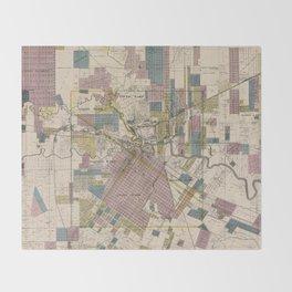 Vintage Map of Houston Texas (1895) Throw Blanket