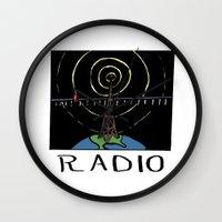 radio Wall Clocks featuring Radio by Ken Coleman