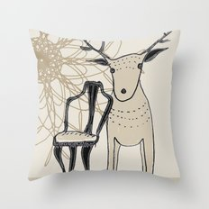 chair and deer Throw Pillow