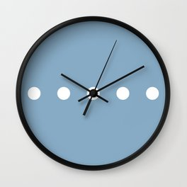 white dots on placid blue color background Wall Clock